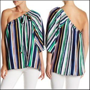 *3/$18*Ro & De One Shoulder Striped Blouse